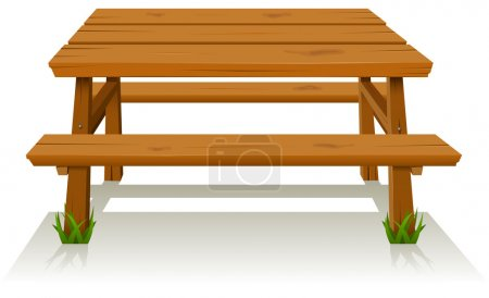 Illustration of a cartoon wooden picnic table...