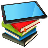 Illustration of a tablet pc e-book set upon a book stack Imaginary model of tablet not made from a real existing product or copyrighted model