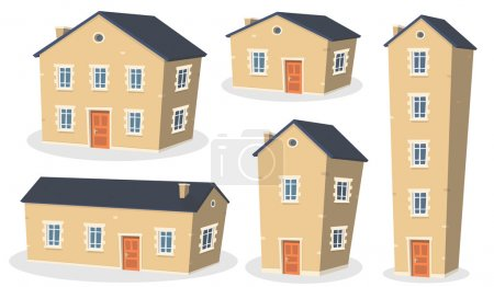 Illustration for Illustration of a collection of cartoon european styled houses and residential apartments, isolated on white background - Royalty Free Image