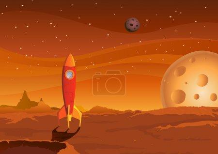 Illustration for Illustration of a cartoon spaceship landing on martian red desert landscape - Royalty Free Image