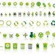 Set of mixed green ecology icons to respect the en...