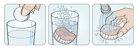 Cleaning denture instructions illustration