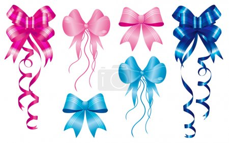 Illustration for Staple birth to new baby born, set of ribbons in pink and light-blue - Royalty Free Image
