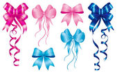 Staple birth to new baby born set of ribbons in pink and light-blue