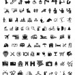 Set of , communication, travel and shopping icons ...