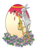 The rabbit on a ladder paints egg