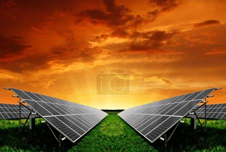 Foto de Paneles de energía solar en el sol poniente - Imagen libre de derechos