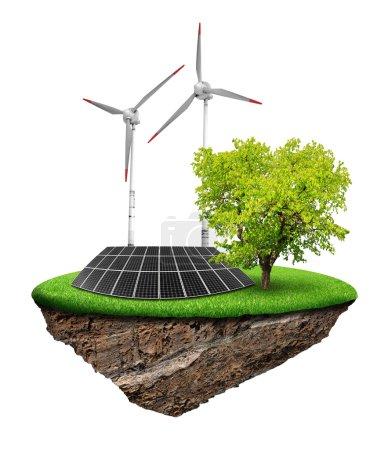 Foto de Pequeña isla con paneles solares y turbinas eólicas aisladas - Imagen libre de derechos
