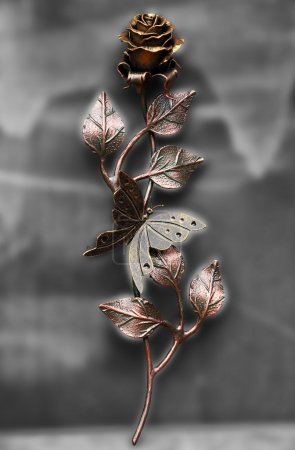 Beautiful hand made rose with butterfly