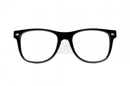 Photo for Black nerd Glasses with white background with clipping path, place for text, picture - Royalty Free Image