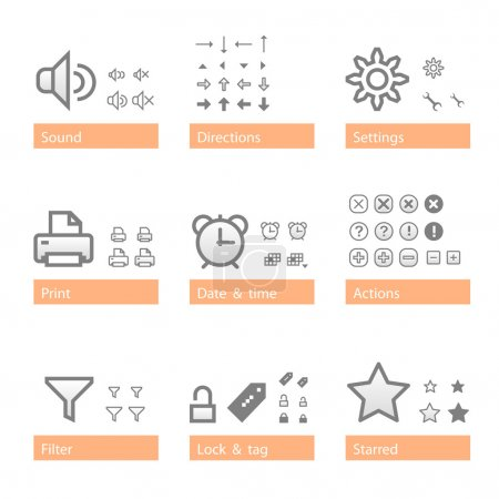Universal software icon set. Addition part