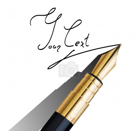 Illustration for Fragment of fountain pen with signature on white background - Royalty Free Image