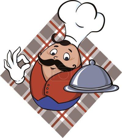 Illustration pour Chef servant une délicieuse nourriture icône vectorielle . - image libre de droit