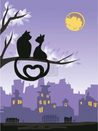 Two loving cats on a tree above the night city skyline.