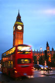 Red Bus and Big Ben in London, Uk