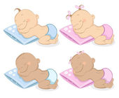 Vector illustration of sleeping babies boy and girl in blue and pink colors