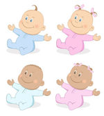 Vector illustration of happy babies boy and girl in blue and pink colors