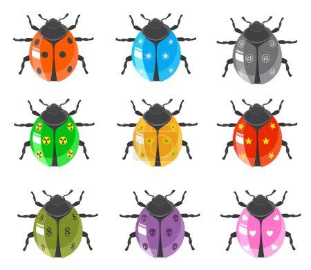 Illustration pour Illustration vectorielle de la collection d'icônes de bugs brillants sur blanc - image libre de droit