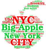 New York city, the big apple tag cloud
