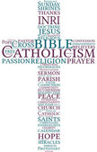 Catholic cross word cloud illustration
