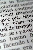 Italian words on a newspaper