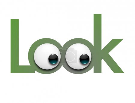 Illustration color digitalis of the word look comp...