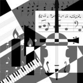 A collage of geometric shapes and musical instruments