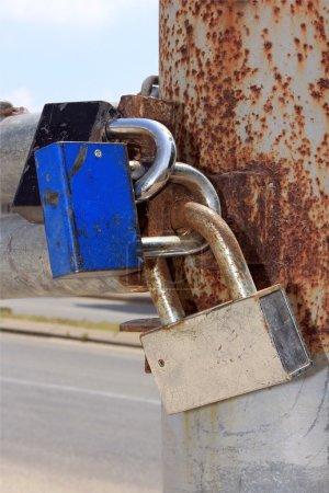 Photo for Three locks on the rusty metal gates - Royalty Free Image