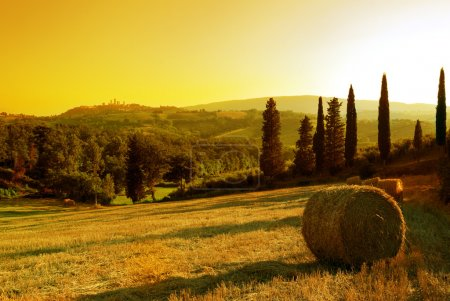 paysage coucher de soleil de Toscane