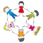 Illustration of a group of friends holding hands