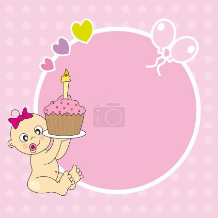 Baby girl with a birthday cake. Frame for photo or text