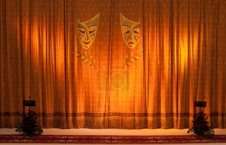 Photo for Theatrical masks on the curtains - Royalty Free Image