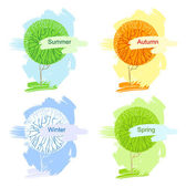 Abstract Vector trees. Illustration isolated