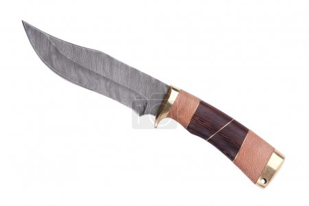 Knife with wooden handle made ??of Damascus steel ...