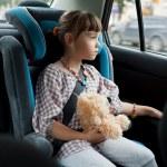 The little girl in the chair car with a teddy bear...