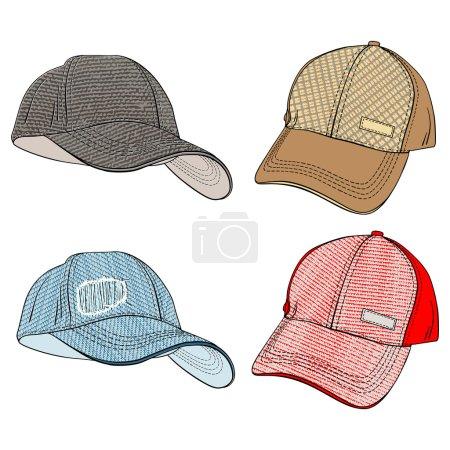 Illustration pour Casquettes de baseball-variations dans différents angles et des modèles de mode texturés matériaux - image libre de droit