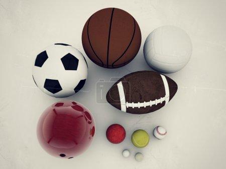 Photo pour Balles de sport isolées sur fond rouge - image libre de droit