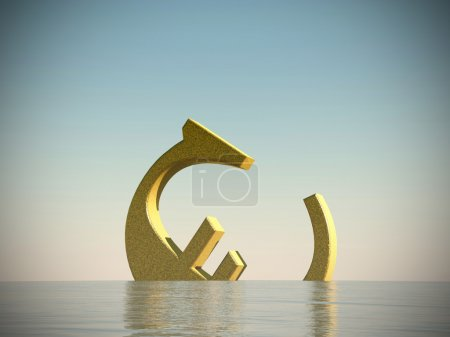 Photo for Euro symbol sinking in the sea - Royalty Free Image