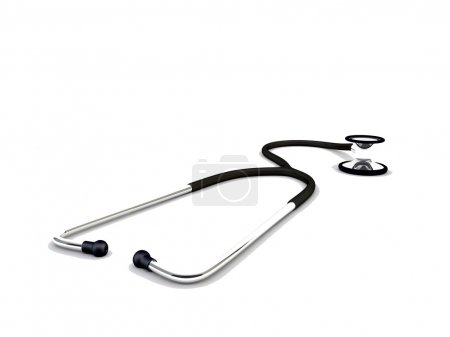 Black stethoscope isolated on white background