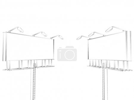 Photo for Billboard sketch isolated on white background - Royalty Free Image