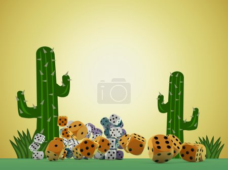 Dices on green table in desert background...