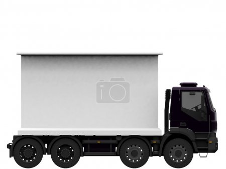 Photo for Truck with blank billboard isolated on white background - Royalty Free Image