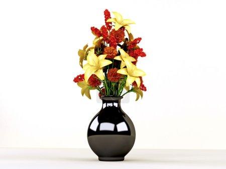 Photo pour Fleurs dans un vase noir isolé sur fond de wbhite - image libre de droit