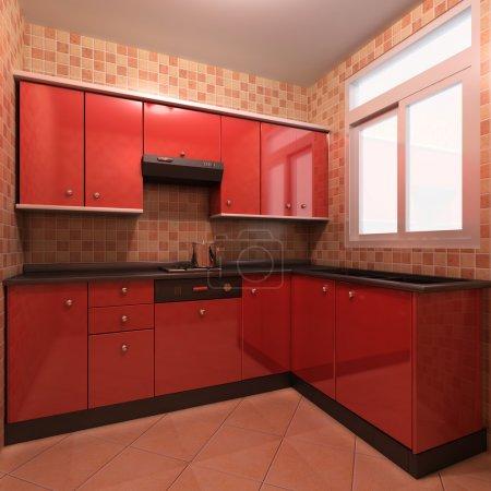 Foto de Interior de renderizado 3D de una cocina moderna - Imagen libre de derechos
