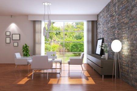 Photo pour Modern living room.3d render.i suis l'auteur de l'image qui hors de la fenêtre - image libre de droit