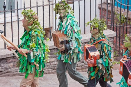 Attendants in the Jack in the Green procession Bristol UK