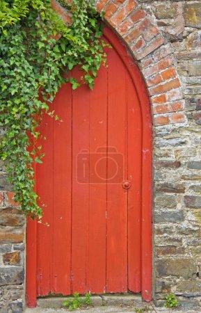 Photo pour Ancienne passerelle en bois à l'arrière d'un jardin de cottage anglais traditionnel - image libre de droit