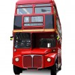A bright red traditional London bus isolated over ...