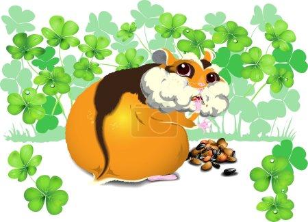Greedy funny hamster