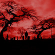 Scary pic of cemetery with hellfire sky and scary ...